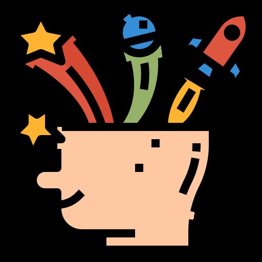 一個腦袋包含星星、星球、火箭