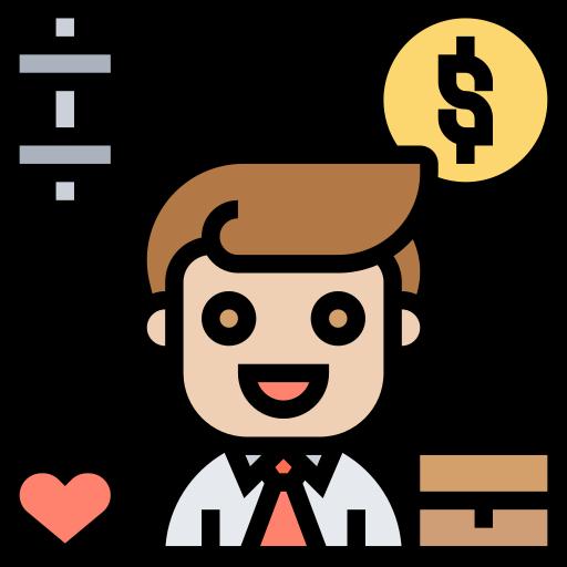 錢、公事包、心心、啞鈴和一個西裝男人懷著滿意表情