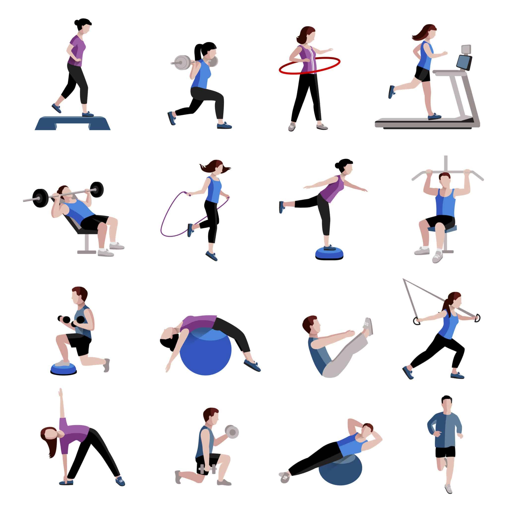 不同的運動例如健身、瑜伽、跑步