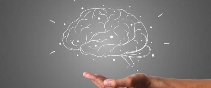 brain writes with white chalk is on hand, draw concept.